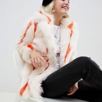 Glamorous coat in stripe faux fur at asos.com