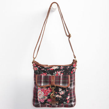 Floral/Plaid Crossbody Bag Black Combo One Size For Women 24230914901