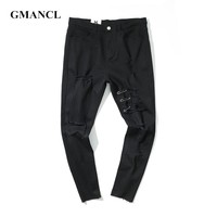 High-quality 2017 for men Stretch Skinny jeans knee hole Destroyed Ripped Joggers pants Homme biker motorcycle Casual jeans
