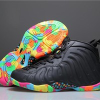 Beauty Ticks Kids Nike Air Foamposite Pro Black/colorful Sneaker Shoe Us 11c - 3y