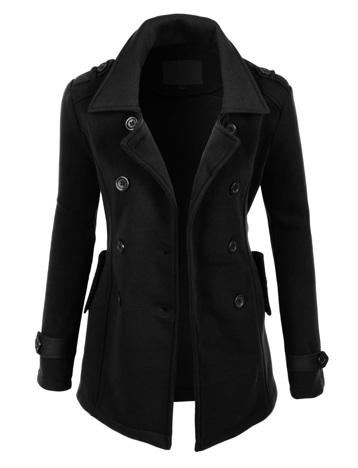 Image of LE3NO Womens Classic Double Breasted Pea Coat Jacket with Pockets