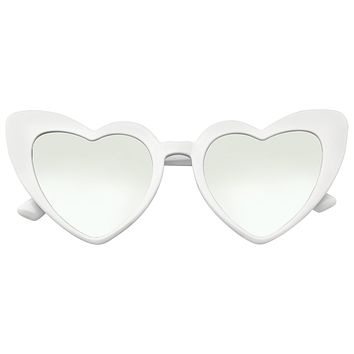 Oversize Cat Eye Heart Shape Mirrored Lens Sunglasses