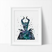 Maleficent 2 Watercolor Art Print
