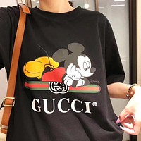 GUCCI x Disney Women Men Mickey Mouse Print Cotton T-Shirt Top