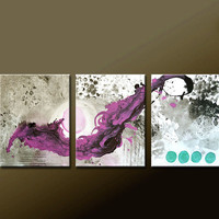 """3pc Abstract Canvas Art Painting 48"""" Original Contemporary Triptych Paintings by Destiny Womack - dWo - The Balance"""