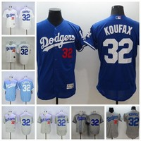 Best Quality 32 Sandy Koufax Jersey Flexbase Cream White Cooperstown Grey Los Angeles Dodgers Baseball Jerseys With 1955 World Series Patch