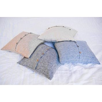 Square Cushions Covers 100% Natural Belgian Flax Linens in 5 Sizes 11 Colors