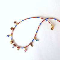 Jewelry, Lucky Jewelry, Charms Necklace, 14k Gold Plated,  Gift Ideas, Middle Eastern Afghan Beads, Coral, Lapis Lazuli,  Minimalist Jewelry