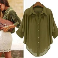 Green Bat Sleeve Chiffon Blouse Shirt, Chic
