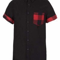 Black Denim Monochrome Buffalo Trim Baseball Shirt - New In