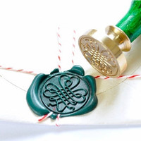Clover Heart Gold Plated Wax Seal Stamp x 1