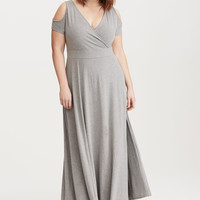 Jersey Cold Shoulder Surplice Maxi Dress