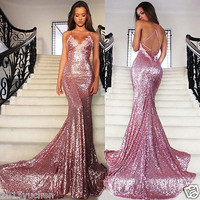 Pink Evening Dress Mermaid Sequin Backless Long Wedding Prom Party Pageant Gown
