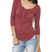 Marled Crochet Henley Tee | Shop Just Arrived at Wet Seal