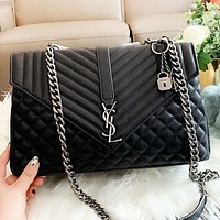 YSL New fashion leather chain shoulder bag women crossbody bag handbag postman package Black