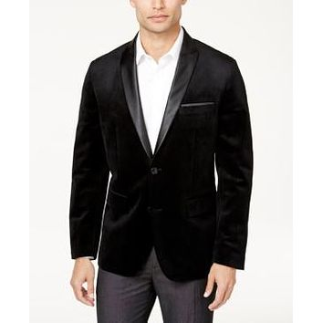 Inc Mens Big and Tall Max Velvet Blazer, Size 3XB/Black Combo