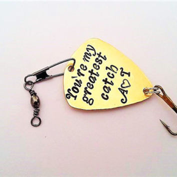 My greatest catch fishing lure, Personalized initials engraved, stocking stuffer, Christmas gift, custom fishing hook, mens gift for him her