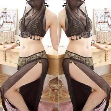 Lady's Sexy Lingerie Arab Belly Dance Costumes Wear Veils Latin Dance Under = 1705604036