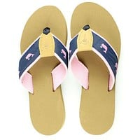 Fabric Sandal in Navy with Pink Whales by Eliza B.
