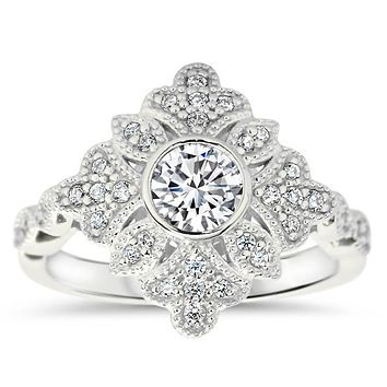Vintage Halo Engagement Ring Moissanite and Diamond - Karen