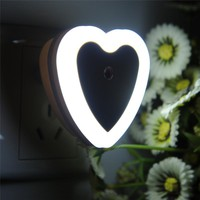 High Quality Auto LED Light Induction Sensor Control Bedroom Night Lights light Bed Lamp Square Heart Round 110-220V 4 Colors