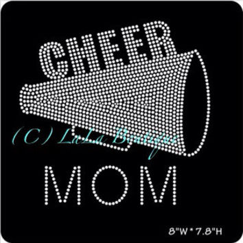 Cheer mom iron on hotfix rhinestone bling transfers - DIY appliqué motif design custom shirts t-shirts tees team logo fan megaphone