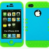Cell Armor IPHONE4G-RSNAP-A006-JC Rocker Snap-On Case for iPhone 4/4S - Retail Packaging - Fluorescent Light Blue