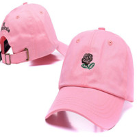 Pink The Hundreds Rose Embroidered Unisex Adjustable Cotton Sports Cap Hat