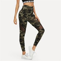 Multicolor Mesh Insert Camo Print Leggings Sporting Patchwork Sheer Crop Pants Women Leggings