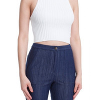 Ribbed Knit Racerback Crop Top - White