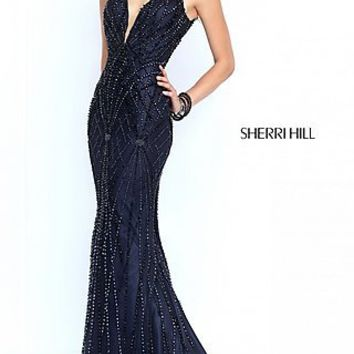 Open Back Floor Length Beaded Dress by Sherri Hill