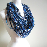 Chunky Blue Infinity Scarf Navy Knotty Bits Art Scarf Tribal Gypsy Upcycled Clothing Boho Winter Accessories Neck Warmer Gifts Under 75