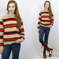 Vintage 70s Red + Navy Striped Sweater S M Oversized Knit Hipster Sweater Striped Knit Red Sweater Striped Sweater Rugby Sweater