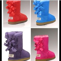 Ugg Fashion Winter Women Cute Bowknot Flat Warm Snow Ankle Boots-11