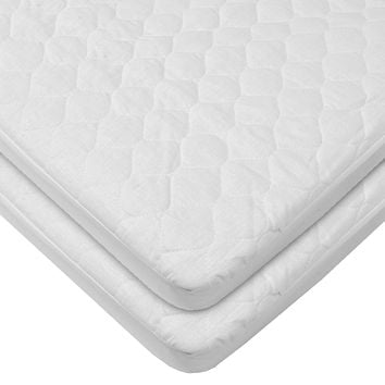 """American Baby Company Waterproof Fitted Quilted Bassinet 15"""" x 33"""" Mattress Pad Cover, 2-Pack"""
