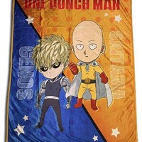 One Punch Man Throw Blanket Chibi Saitama and Genos