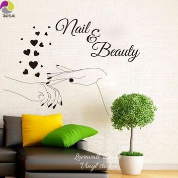 Nail Beauty Elegant Finger Heart Wall Sticker Manicure Polish Varnish Cosmeti Spa Shop Bar Wall Decal Kids Girl Room Vinyl Decor
