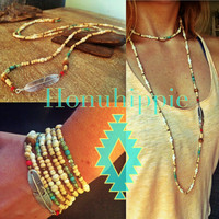 Native american inspired hippie necklace, Boho Wrap Feather pendant