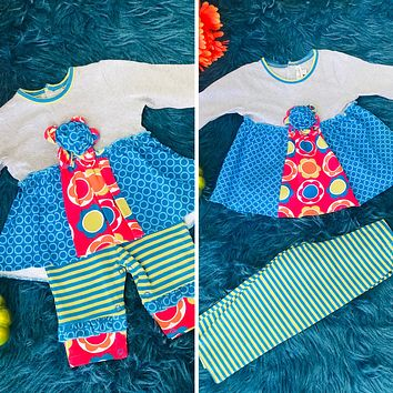 Fall Bohemian Babes High Low Color Block Tunic With Grey Bodice & Blue/Green Stripped Leggings CLF