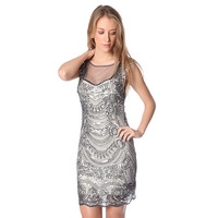 Silver sequin midi dress with deep back