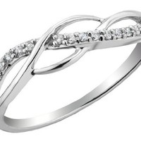 Diamond Promise Ring 1/10 Carat (ctw) in Sterling Silver