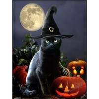 5D Diamond Painting Black Cat Full Moon Kit
