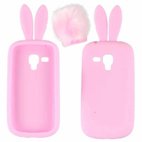 8 Colors Cute Silicon Rabbit Stand Holder Soft Case Cover Skin For Samsung Galaxy S3 Mini I8190 Phone Cases IMY66