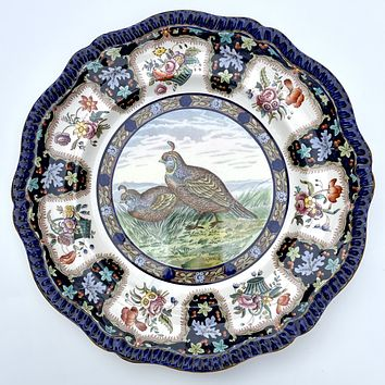 Copeland Spode Upland No.3 California Quail Game Bird Enameled Clobbered Antique Bi Color Transferware Plate