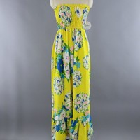 Vintage Fred Engleman Yellow Floral Print Tube Top Strapless Maxi Dress