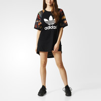 """""""Adidas"""" Fashion Casual Female Letter Print Middle Sleeve Stitching Round Neck Loose Movement Mini Dress"""