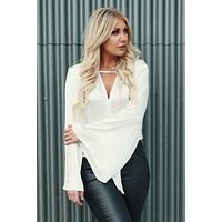 Here And Now Woven Silk Top (Ivory)