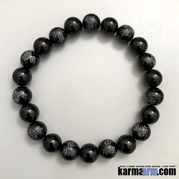 CHALLENGES: Black Onyx | Lotus Flower | Buddha Word | Yoga Chakra Bracelet