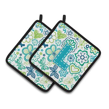 Letter L Flowers and Butterflies Teal Blue Pair of Pot Holders CJ2006-LPTHD