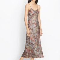 Watercolor Print Silk Slip Dress